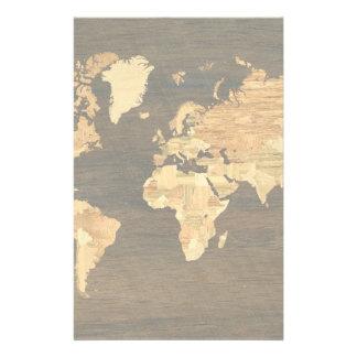 Mapa del mundo de madera papeleria
