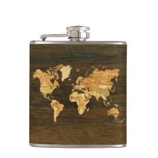 Mapa del mundo de madera petaca