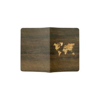 Mapa del mundo de madera porta pasaporte