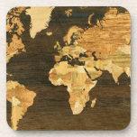 Mapa del mundo de madera posavasos de bebidas