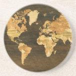 Mapa del mundo de madera posavasos para bebidas