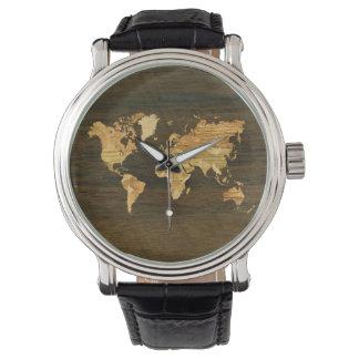 Mapa del mundo de madera reloj de mano
