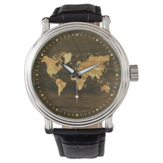 Mapa del mundo de madera relojes