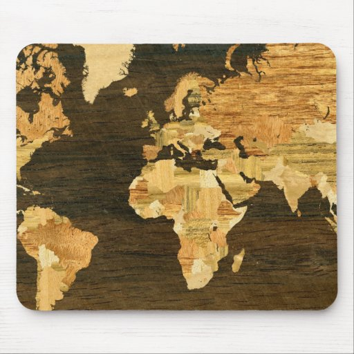 Mapa del mundo de madera tapetes de ratones