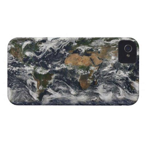 Mapa del mundo de MODIS iPhone 4 Case-Mate Carcasas