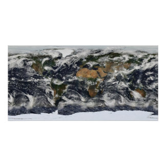 Mapa del mundo de MODIS Póster