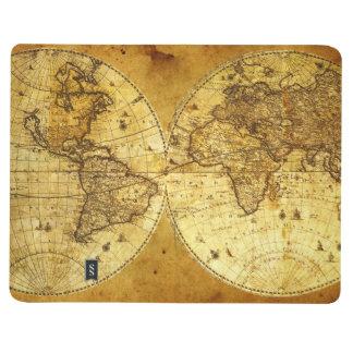 Mapa del mundo de oro viejo cuaderno