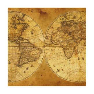 Mapa del mundo de oro viejo cuadro de madera
