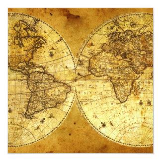 """Mapa del mundo de oro viejo invitación 5.25"""" x 5.25"""""""