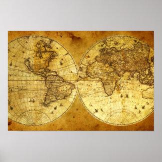 Mapa del mundo de oro viejo póster