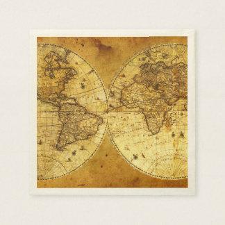 Mapa del mundo de oro viejo servilleta desechable