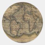 Mapa del mundo de Ortelius Etiquetas Redondas