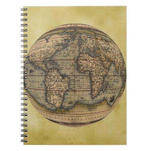 Mapa del mundo de Ortelius Libreta Espiral