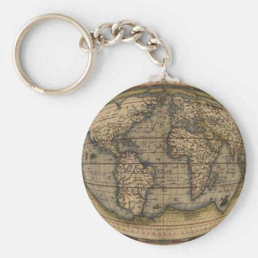 Mapa del mundo de Ortelius Llavero Redondo Tipo Pin