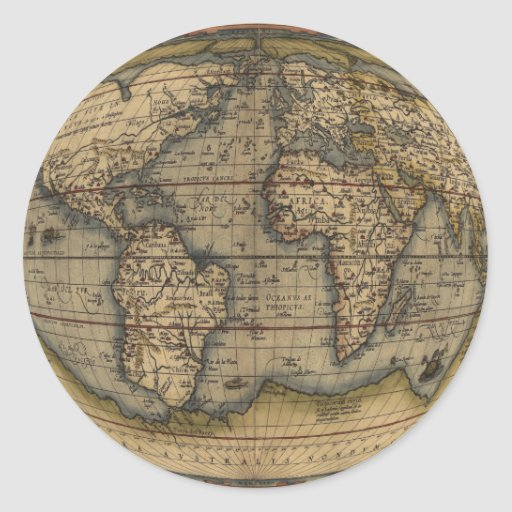 Mapa del mundo de Ortelius Pegatina Redonda