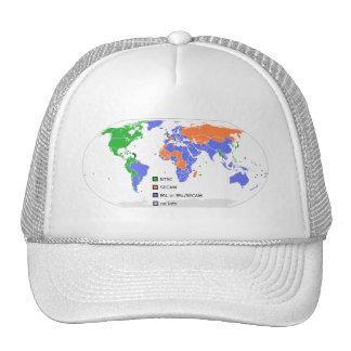 Mapa del mundo de PAL NTSC SECAM TV Gorras