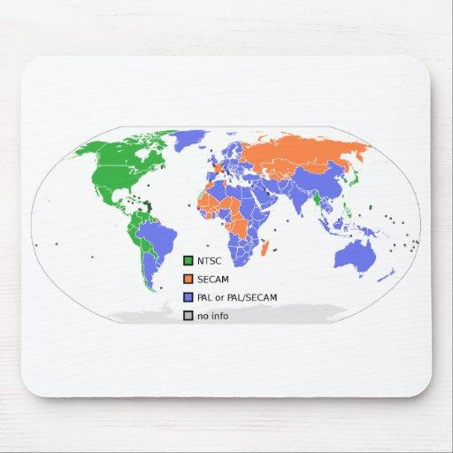 Mapa del mundo de PAL NTSC SECAM TV Tapetes De Ratón