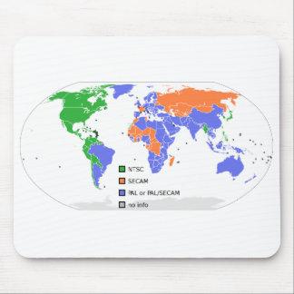 Mapa del mundo de PAL NTSC SECAM TV Tapetes De Raton