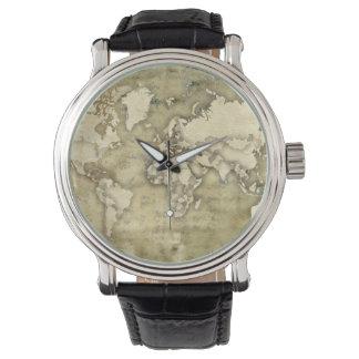 Mapa del mundo de papel gastado relojes de pulsera