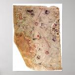 Mapa del mundo de Piri Reis Póster