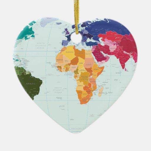 Mapa del mundo adorno de cerámica en forma de corazón