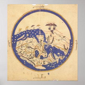 Mapa del mundo del al-Idrisi's Póster