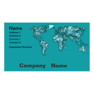 mapa del mundo del aquamarine tarjetas de visita
