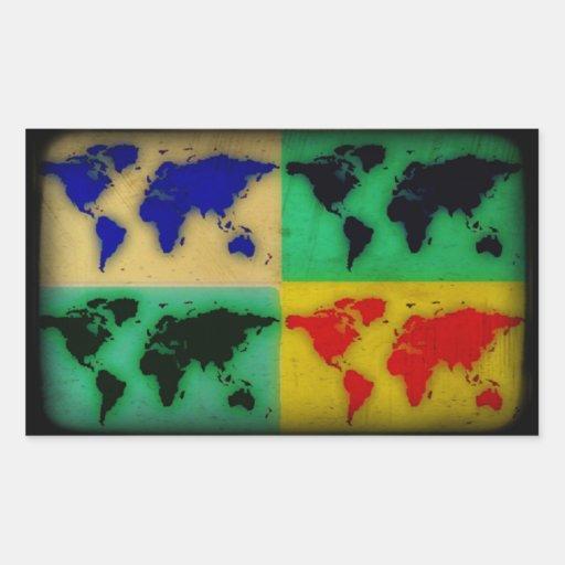 mapa del mundo del color del arte pop rectangular altavoz