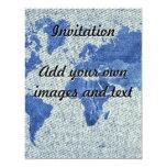 Mapa del mundo del dril de algodón invitación 10,8 x 13,9 cm