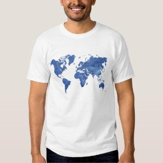Mapa del mundo del dril de algodón poleras