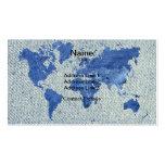 Mapa del mundo del dril de algodón tarjetas de visita