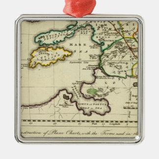 Mapa del mundo del espécimen del geographicarum de adorno cuadrado plateado