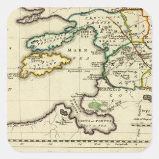 Mapa del mundo del espécimen del geographicarum de pegatina cuadrada