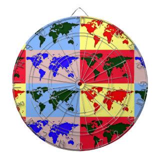 mapa del mundo del estilo del estallido tablero dardos