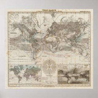 Mapa del mundo del flujo de aire posters