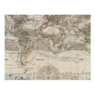Mapa del mundo del flujo de aire postales