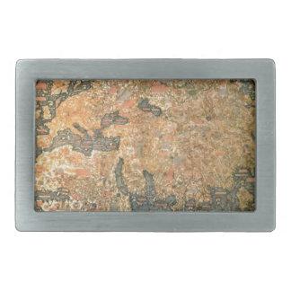 Mapa del mundo del Fra Mauro Hebilla De Cinturon Rectangular