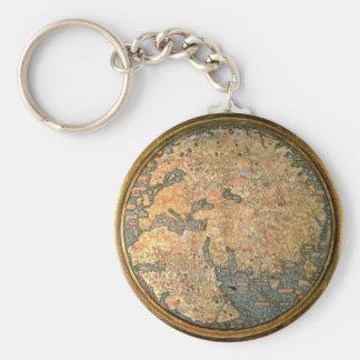 Mapa del mundo del Fra Mauro Llavero Redondo Tipo Pin
