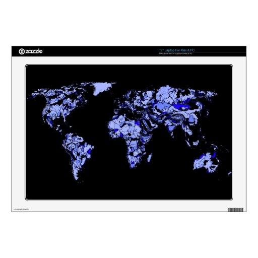 Mapa del mundo del negro azul calcomanía para 43,2cm portátil