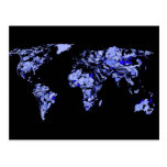 Mapa del mundo del negro azul tarjeta postal