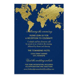 """Mapa del mundo del oro de la tarjeta de invitación 3.5"""" x 5"""""""