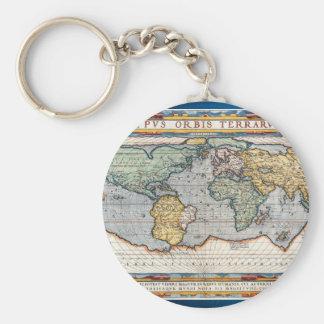 Mapa del mundo del siglo XVI antiguo Llavero Redondo Tipo Pin