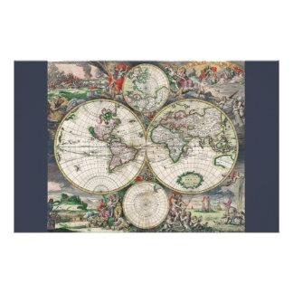 Mapa del mundo del siglo XVII Papelería De Diseño