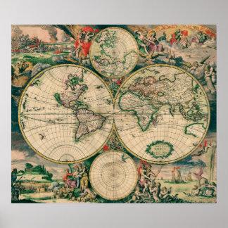 Mapa del mundo del siglo XVII - poster