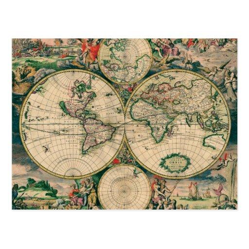 Mapa del mundo del siglo XVII Tarjetas Postales