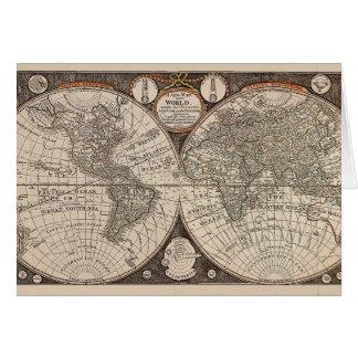 Mapa del mundo del vintage (1766) tarjeta de felicitación