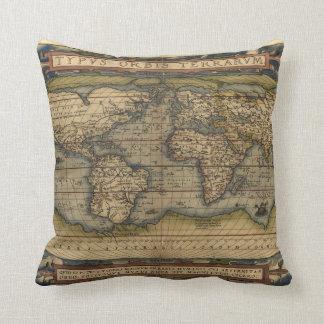 Mapa del mundo del vintage almohadas