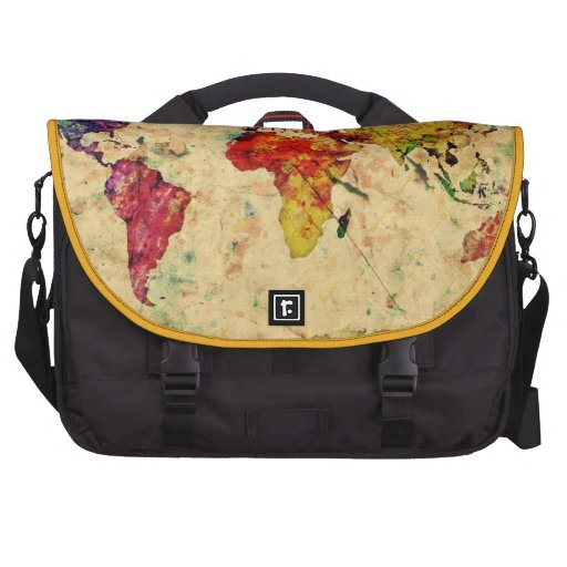 Mapa del mundo del vintage bolsas para ordenador