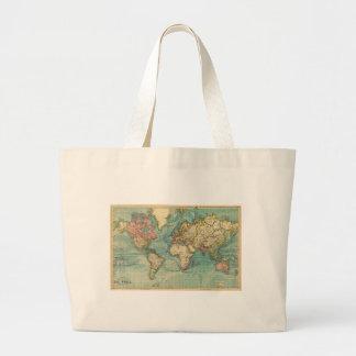 Mapa del mundo del vintage bolsa tela grande