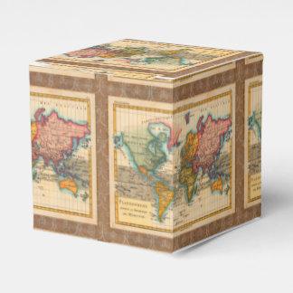 Mapa del mundo del vintage caja para regalo de boda